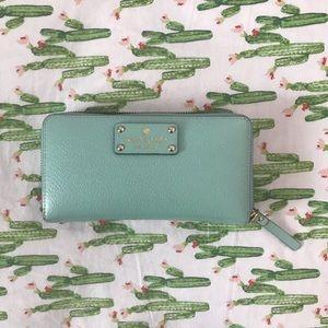Kate Spade full zip wallet, color: Tiffany Blue